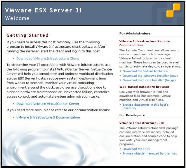 ESXi Managemnt Web Page